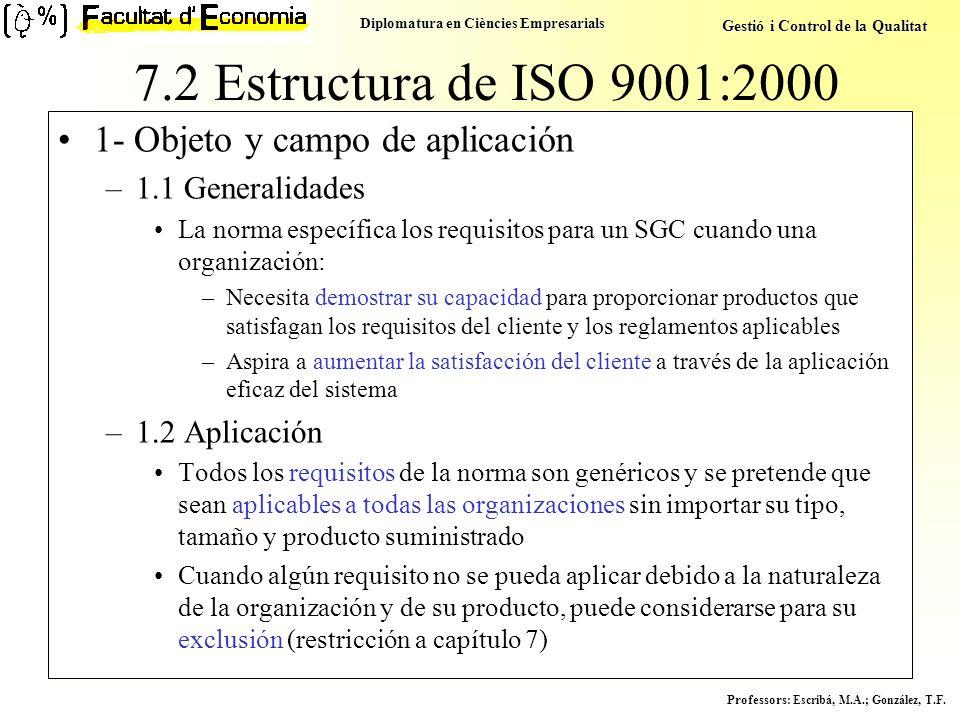 Diplomatura en Ciències Empresarials Gestió i Control de la Qualitat Professors : Escribá, M.A.; González, T.F. 7.2 Estructura de ISO 9001:2000 1- Obj