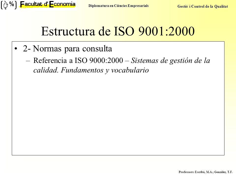Diplomatura en Ciències Empresarials Gestió i Control de la Qualitat Professors : Escribá, M.A.; González, T.F. Estructura de ISO 9001:2000 2- Normas