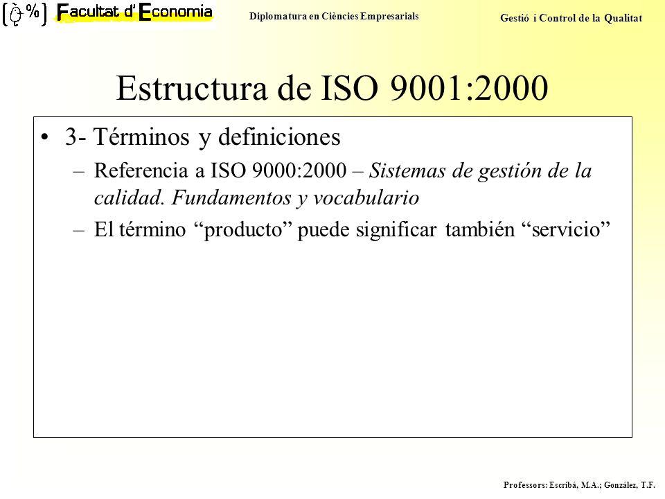 Diplomatura en Ciències Empresarials Gestió i Control de la Qualitat Professors : Escribá, M.A.; González, T.F. Estructura de ISO 9001:2000 3- Término