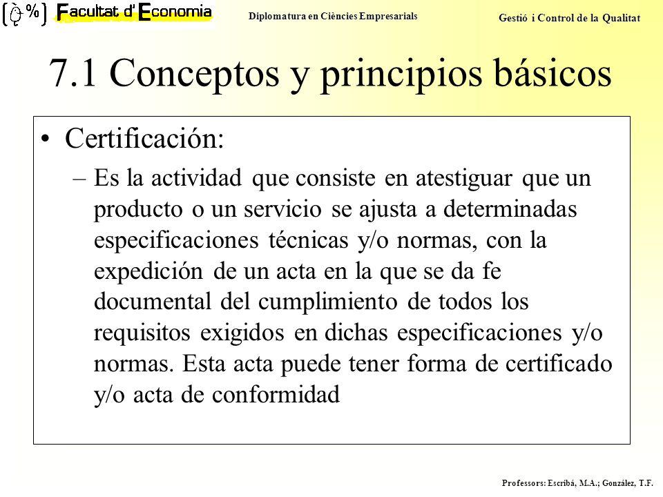 Diplomatura en Ciències Empresarials Gestió i Control de la Qualitat Professors : Escribá, M.A.; González, T.F. Certificación: –Es la actividad que co