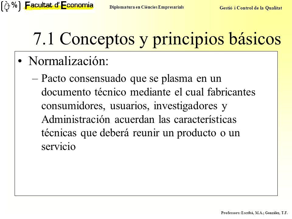 Diplomatura en Ciències Empresarials Gestió i Control de la Qualitat Professors : Escribá, M.A.; González, T.F. Normalización: –Pacto consensuado que