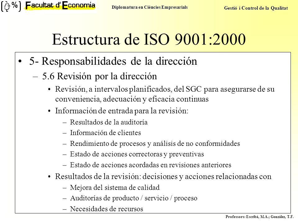 Diplomatura en Ciències Empresarials Gestió i Control de la Qualitat Professors : Escribá, M.A.; González, T.F. Estructura de ISO 9001:2000 5- Respons