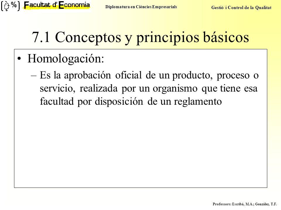 Diplomatura en Ciències Empresarials Gestió i Control de la Qualitat Professors : Escribá, M.A.; González, T.F. Homologación: –Es la aprobación oficia