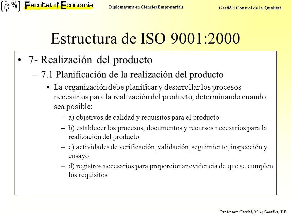 Diplomatura en Ciències Empresarials Gestió i Control de la Qualitat Professors : Escribá, M.A.; González, T.F. Estructura de ISO 9001:2000 7- Realiza