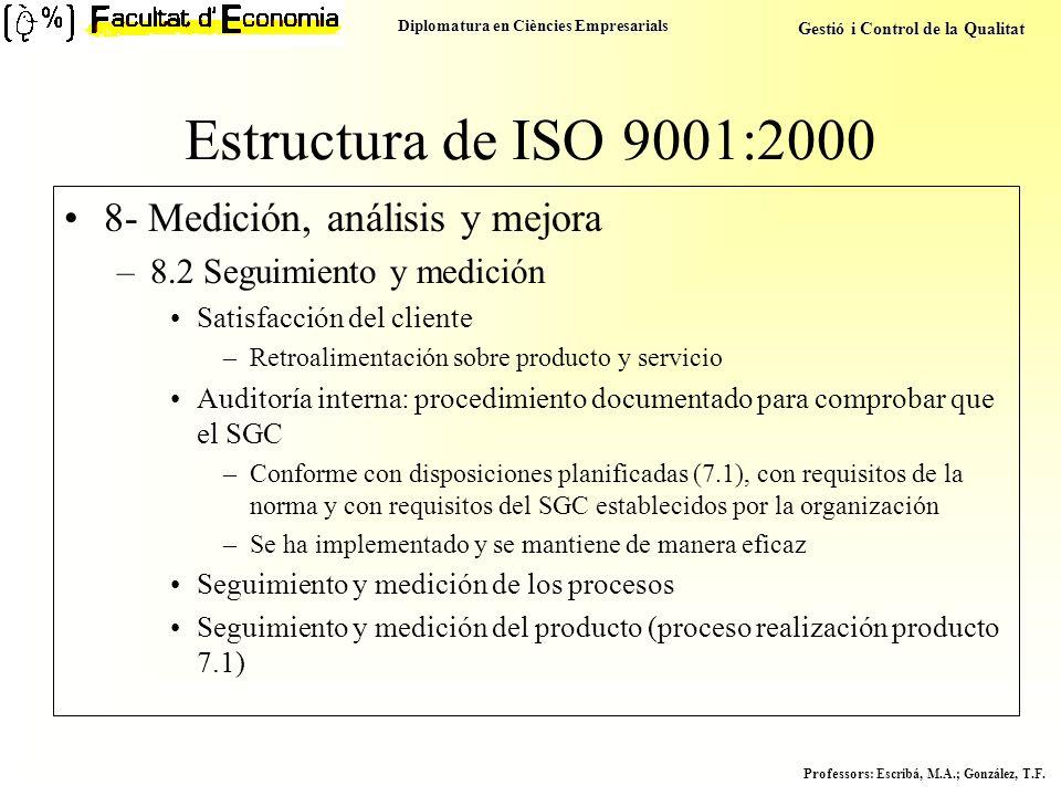 Diplomatura en Ciències Empresarials Gestió i Control de la Qualitat Professors : Escribá, M.A.; González, T.F. Estructura de ISO 9001:2000 8- Medició