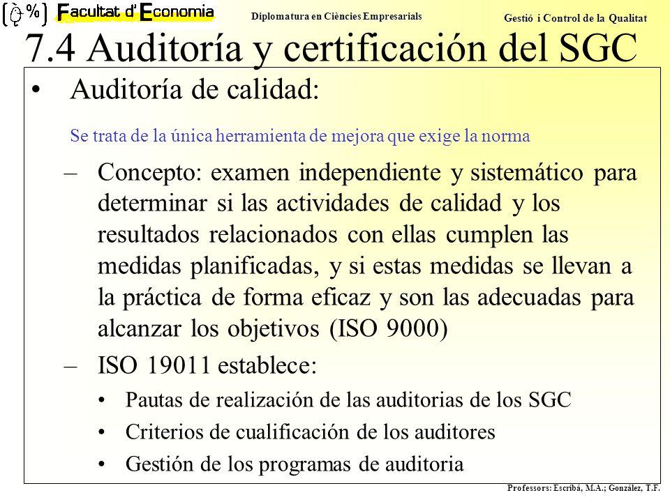 Diplomatura en Ciències Empresarials Gestió i Control de la Qualitat Professors : Escribá, M.A.; González, T.F. Auditoría de calidad: Se trata de la ú