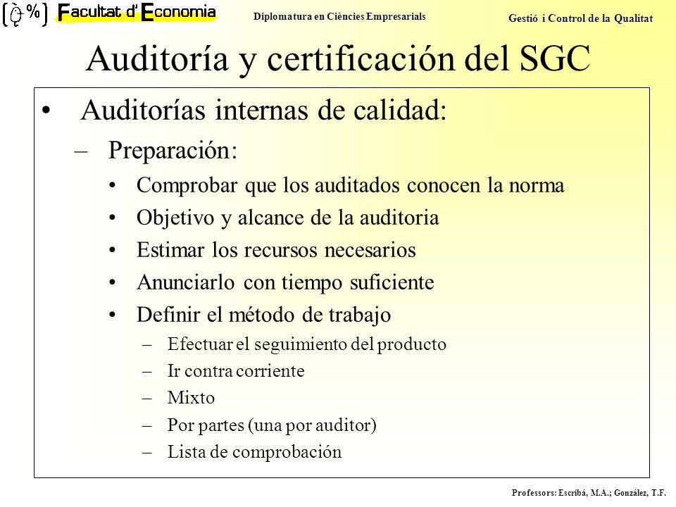 Diplomatura en Ciències Empresarials Gestió i Control de la Qualitat Professors : Escribá, M.A.; González, T.F. Auditoría y certificación del SGC Audi