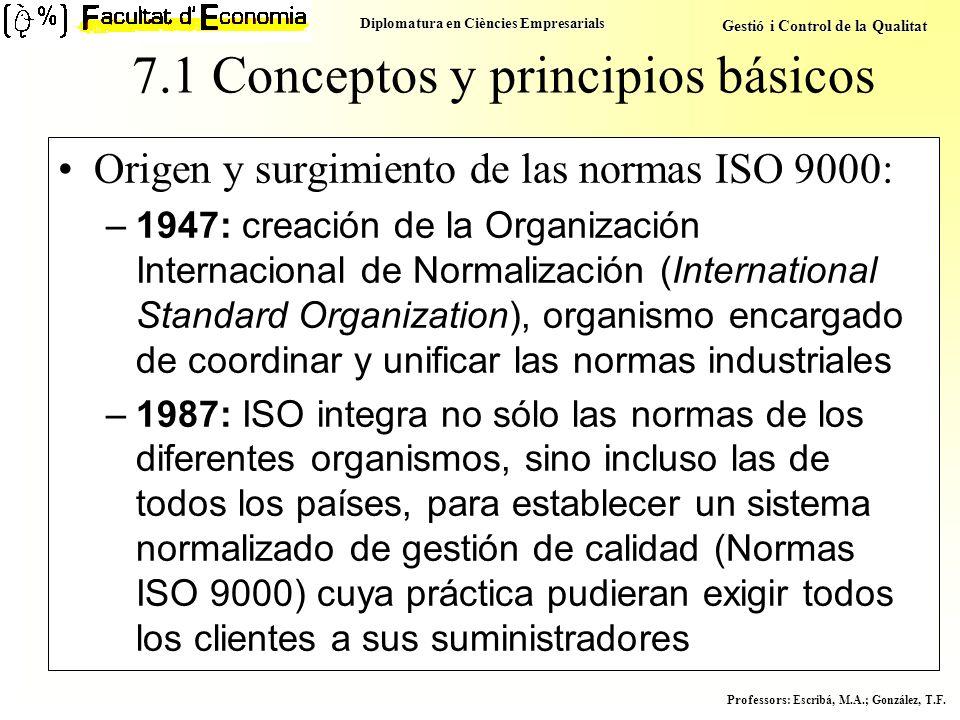 Diplomatura en Ciències Empresarials Gestió i Control de la Qualitat Professors : Escribá, M.A.; González, T.F. Origen y surgimiento de las normas ISO