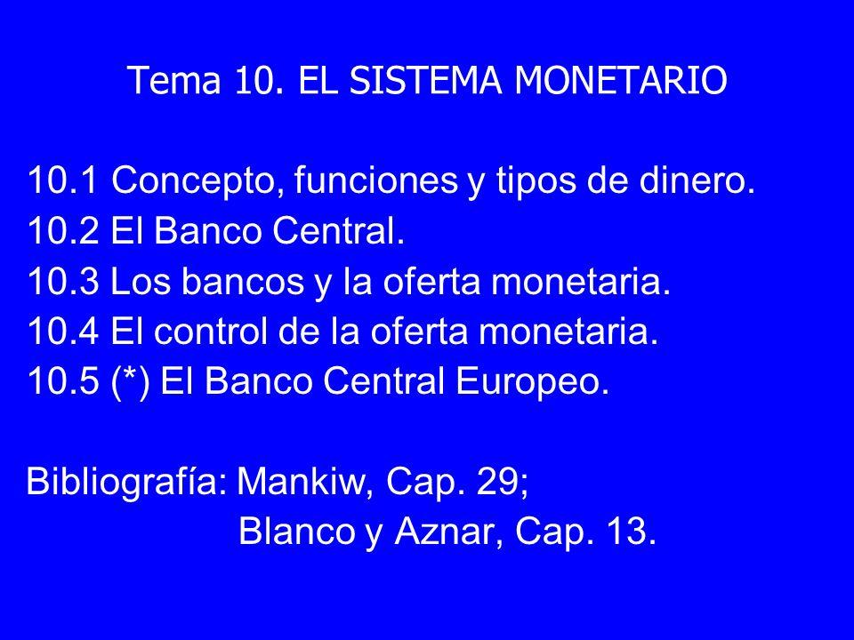 Tema 10. EL SISTEMA MONETARIO 10.1 Concepto, funciones y tipos de dinero. 10.2 El Banco Central. 10.3 Los bancos y la oferta monetaria. 10.4 El contro