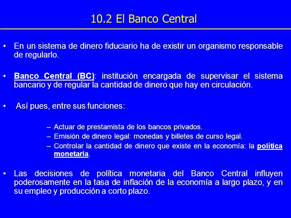 En un sistema de dinero fiduciario ha de existir un organismo responsable de regularlo. Banco Central (BC): institución encargada de supervisar el sis