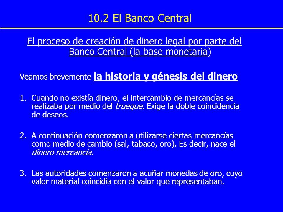 10.2 El Banco Central El proceso de creación de dinero legal por parte del Banco Central (la base monetaria) Veamos brevemente la historia y génesis d