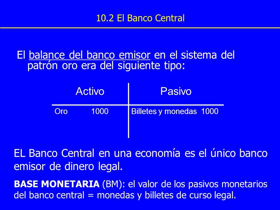 10.2 El Banco Central El balance del banco emisor en el sistema del patrón oro era del siguiente tipo: ActivoPasivo Oro 1000Billetes y monedas 1000 EL