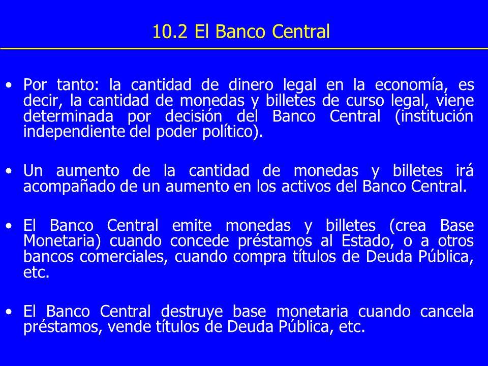10.2 El Banco Central Por tanto: la cantidad de dinero legal en la economía, es decir, la cantidad de monedas y billetes de curso legal, viene determi