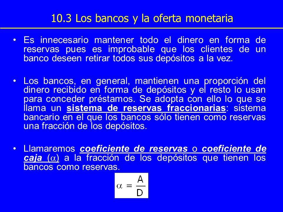 10.3 Los bancos y la oferta monetaria Es innecesario mantener todo el dinero en forma de reservas pues es improbable que los clientes de un banco dese