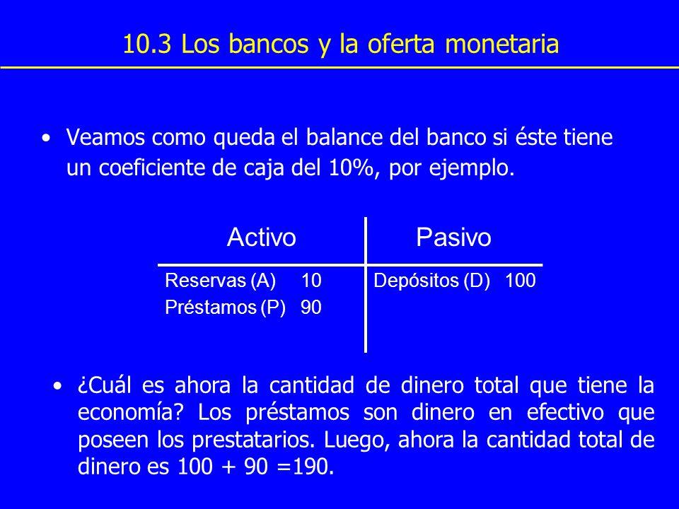 10.3 Los bancos y la oferta monetaria Veamos como queda el balance del banco si éste tiene un coeficiente de caja del 10%, por ejemplo. ActivoPasivo R