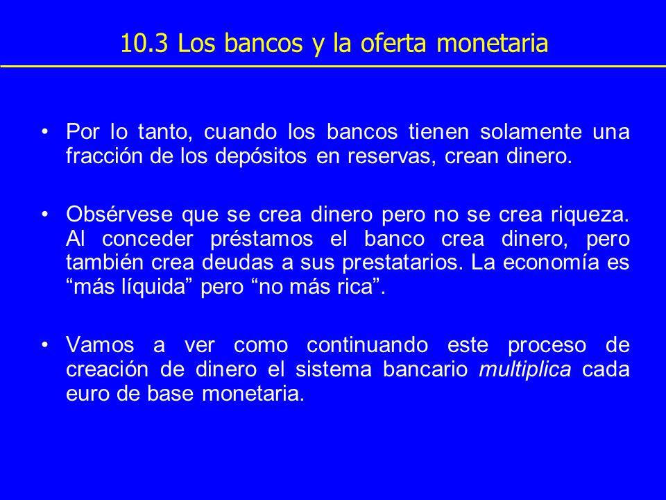 10.3 Los bancos y la oferta monetaria Por lo tanto, cuando los bancos tienen solamente una fracción de los depósitos en reservas, crean dinero. Obsérv