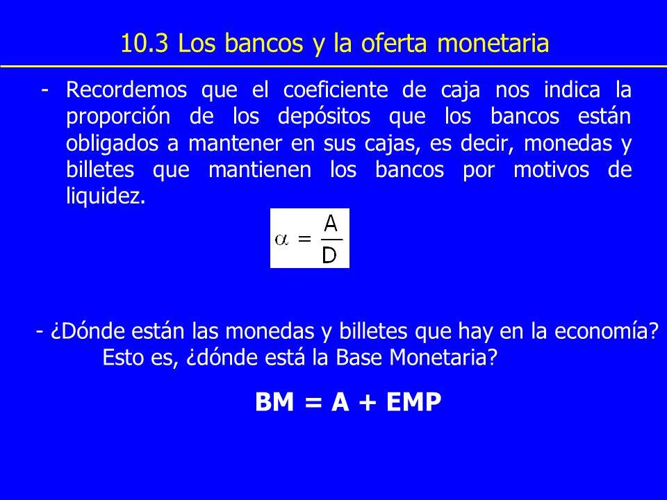 10.3 Los bancos y la oferta monetaria -Recordemos que el coeficiente de caja nos indica la proporción de los depósitos que los bancos están obligados
