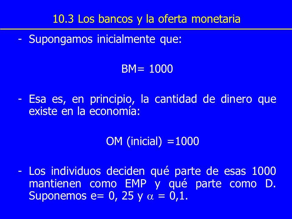 10.3 Los bancos y la oferta monetaria -Supongamos inicialmente que: BM= 1000 -Esa es, en principio, la cantidad de dinero que existe en la economía: O