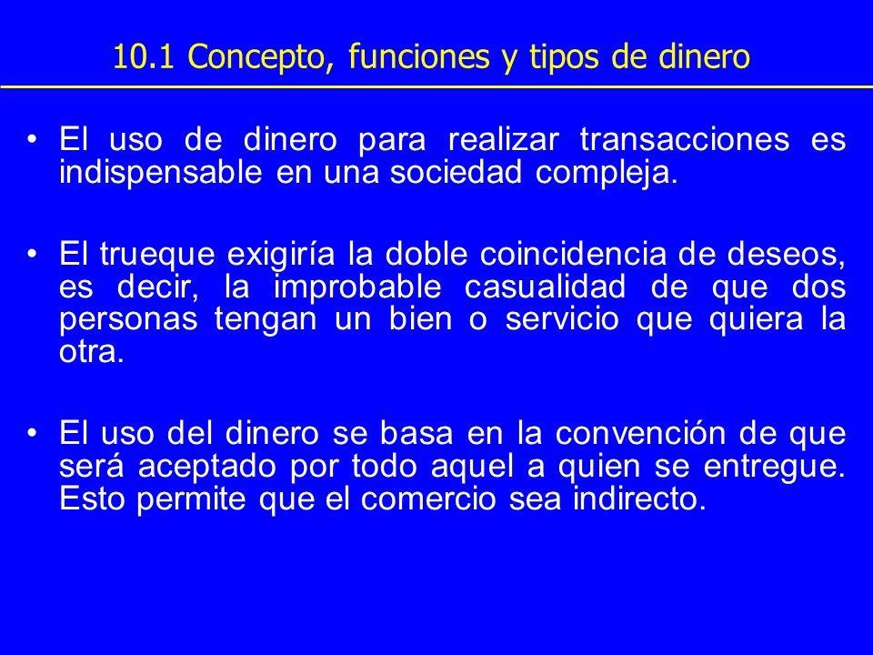 10.1 Concepto, funciones y tipos de dinero El uso de dinero para realizar transacciones es indispensable en una sociedad compleja. El trueque exigiría
