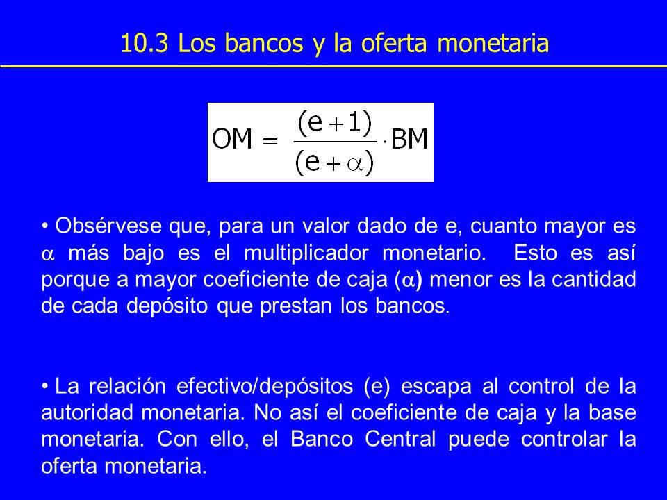 10.3 Los bancos y la oferta monetaria Obsérvese que, para un valor dado de e, cuanto mayor es más bajo es el multiplicador monetario. Esto es así porq