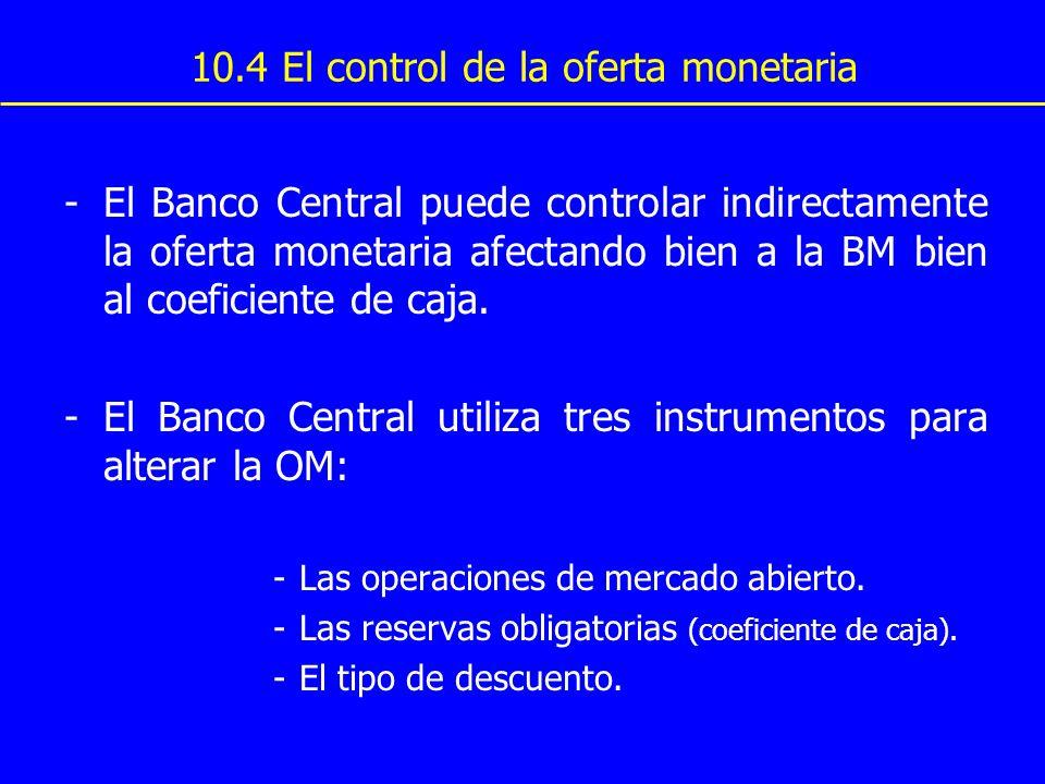 -El Banco Central puede controlar indirectamente la oferta monetaria afectando bien a la BM bien al coeficiente de caja. -El Banco Central utiliza tre