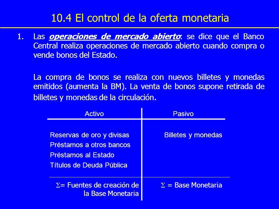 10.4 El control de la oferta monetaria 1.Las operaciones de mercado abierto: se dice que el Banco Central realiza operaciones de mercado abierto cuand