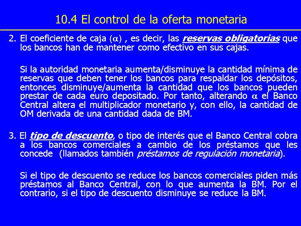 10.4 El control de la oferta monetaria 2. El coeficiente de caja ( ), es decir, las reservas obligatorias que los bancos han de mantener como efectivo