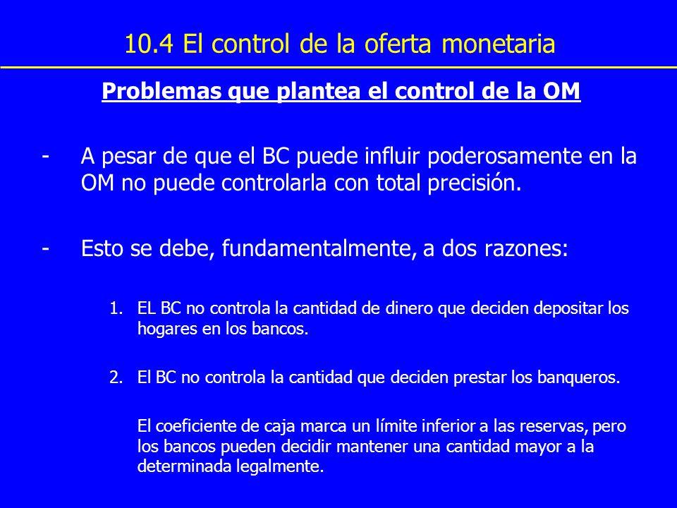 10.4 El control de la oferta monetaria Problemas que plantea el control de la OM -A pesar de que el BC puede influir poderosamente en la OM no puede c