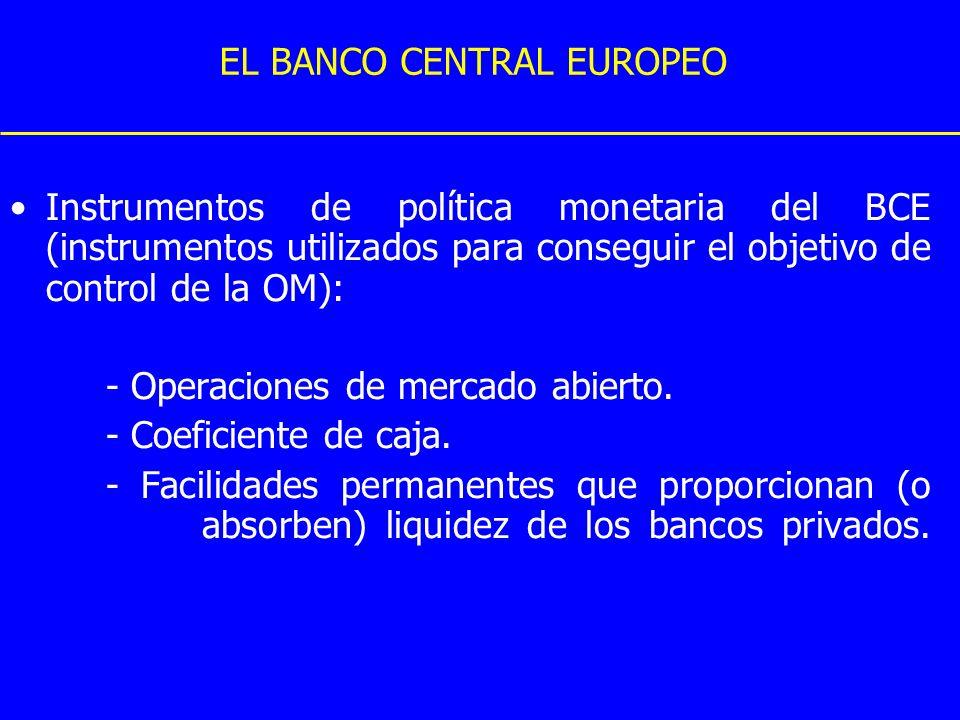 EL BANCO CENTRAL EUROPEO Instrumentos de política monetaria del BCE (instrumentos utilizados para conseguir el objetivo de control de la OM): - Operac