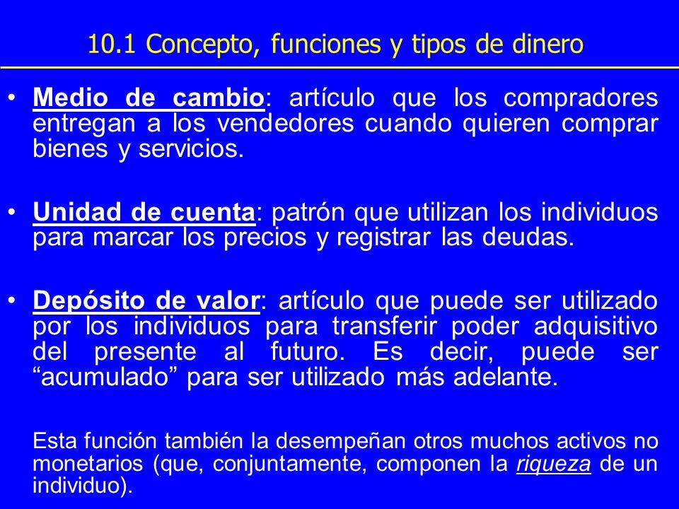 10.1 Concepto, funciones y tipos de dinero Medio de cambio: artículo que los compradores entregan a los vendedores cuando quieren comprar bienes y ser