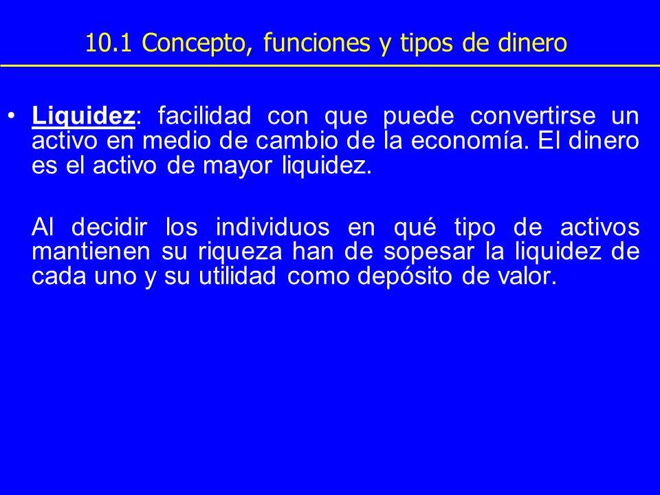 10.1 Concepto, funciones y tipos de dinero Liquidez: facilidad con que puede convertirse un activo en medio de cambio de la economía. El dinero es el