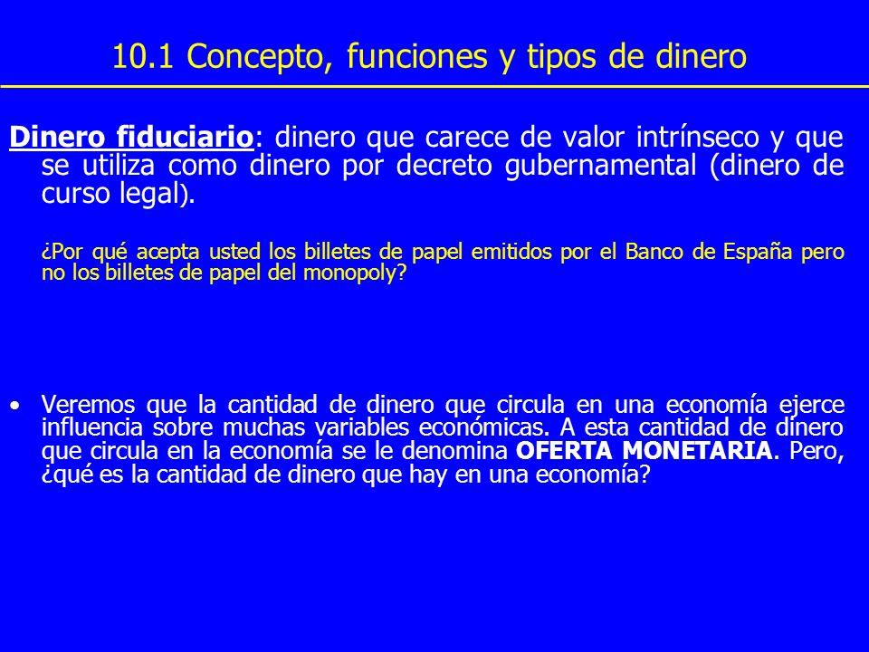 10.1 Concepto, funciones y tipos de dinero Dinero fiduciario: dinero que carece de valor intrínseco y que se utiliza como dinero por decreto gubername