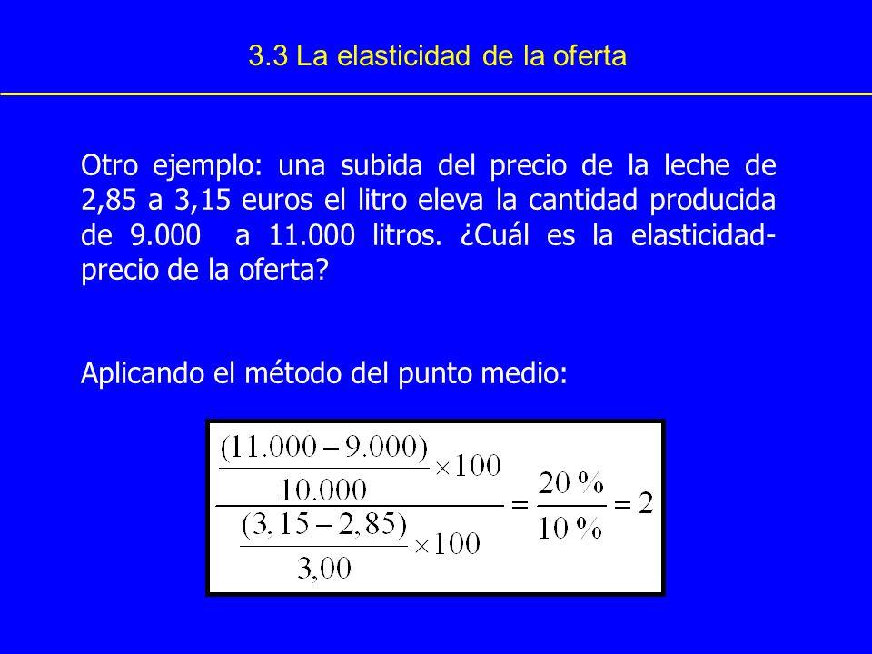 3.3 La elasticidad de la oferta Otro ejemplo: una subida del precio de la leche de 2,85 a 3,15 euros el litro eleva la cantidad producida de 9.000 a 1