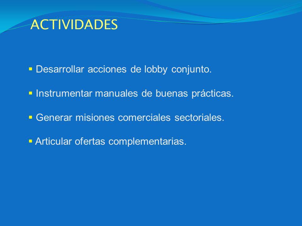 Desarrollar acciones de lobby conjunto. Instrumentar manuales de buenas prácticas. Generar misiones comerciales sectoriales. Articular ofertas complem