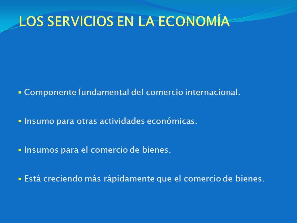 LOS SERVICIOS EN LA ECONOM Í A Componente fundamental del comercio internacional. Insumo para otras actividades económicas. Insumos para el comercio d