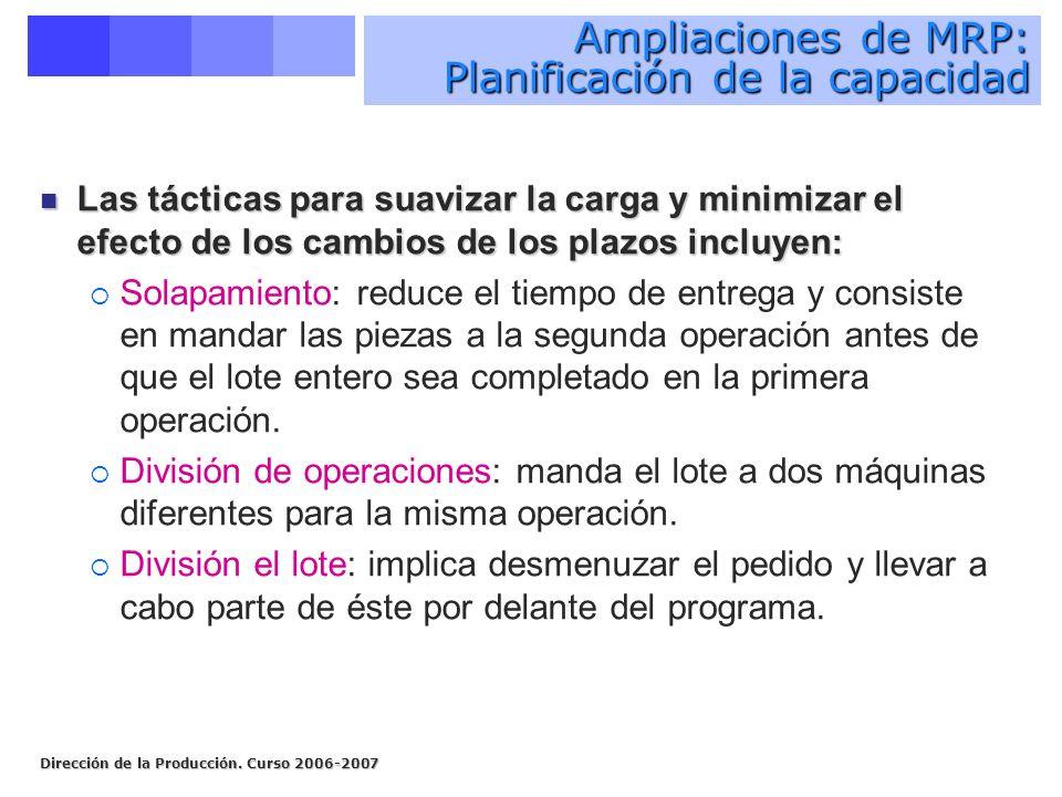 Dirección de la Producción. Curso 2006-2007 Ampliaciones de MRP: Planificación de la capacidad Las tácticas para suavizar la carga y minimizar el efec