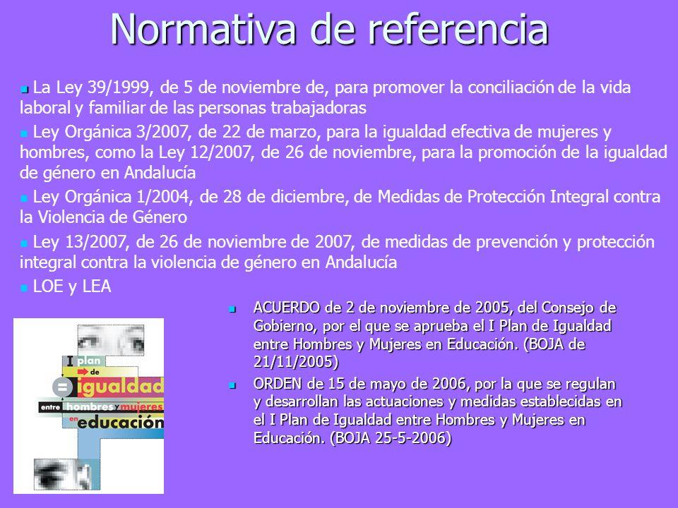 Normativa de referencia ACUERDO de 2 de noviembre de 2005, del Consejo de Gobierno, por el que se aprueba el I Plan de Igualdad entre Hombres y Mujere