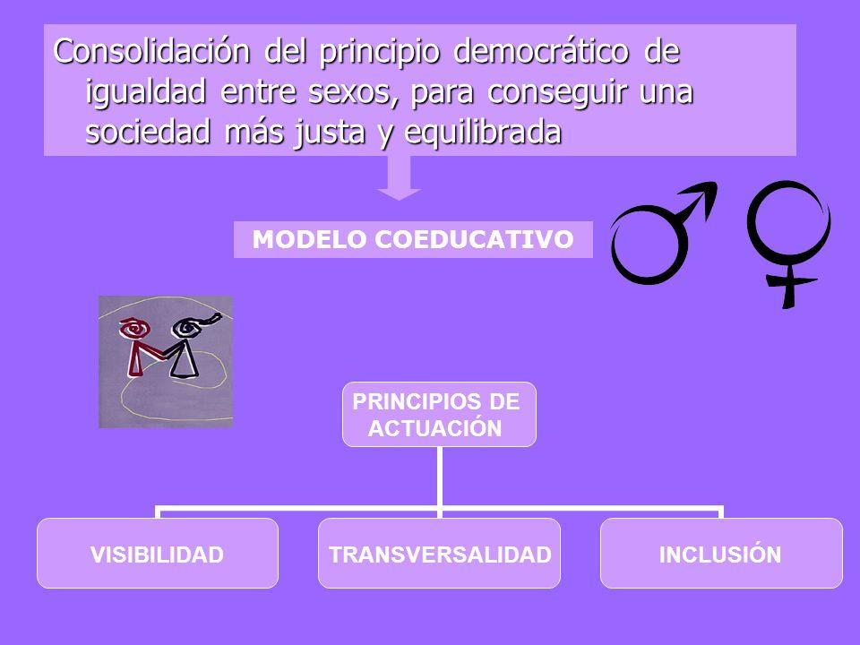 Consolidación del principio democrático de igualdad entre sexos, para conseguir una sociedad más justa y equilibrada MODELO COEDUCATIVO PRINCIPIOS DE