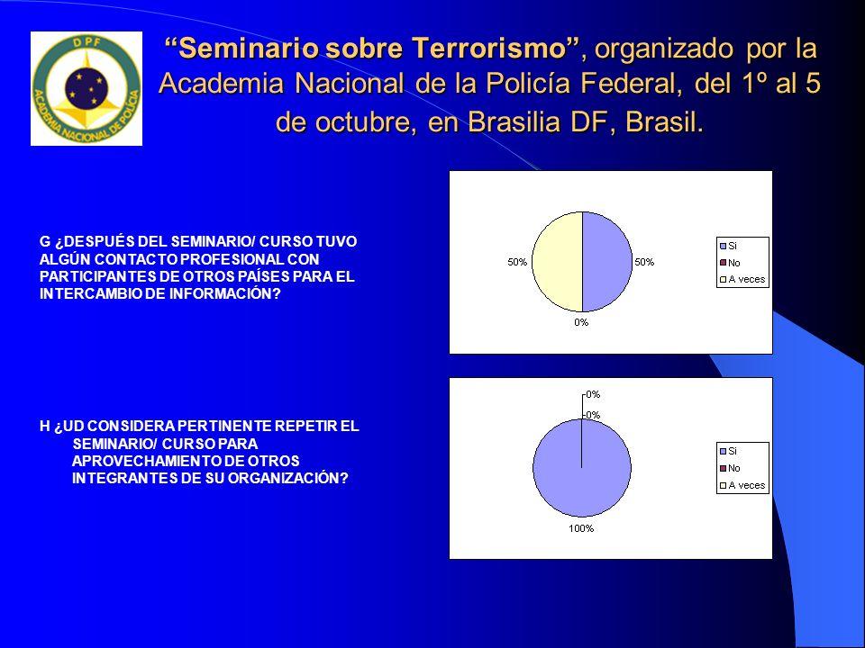 Seminario sobre Terrorismo, organizado por la Academia Nacional de la Policía Federal, del 1º al 5 de octubre, en Brasilia DF, Brasil. H ¿UD CONSIDERA