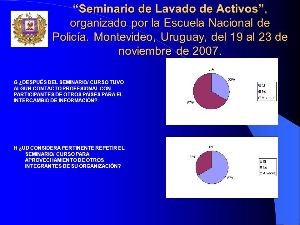 Seminario de Lavado de Activos, organizado por la Escuela Nacional de Policía. Montevideo, Uruguay, del 19 al 23 de noviembre de 2007. H ¿UD CONSIDERA