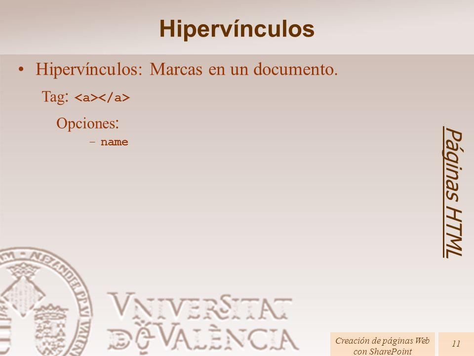 Páginas HTML Creación de páginas Web con SharePoint 11 Hipervínculos: Marcas en un documento. Tag : Opciones : –name Hipervínculos