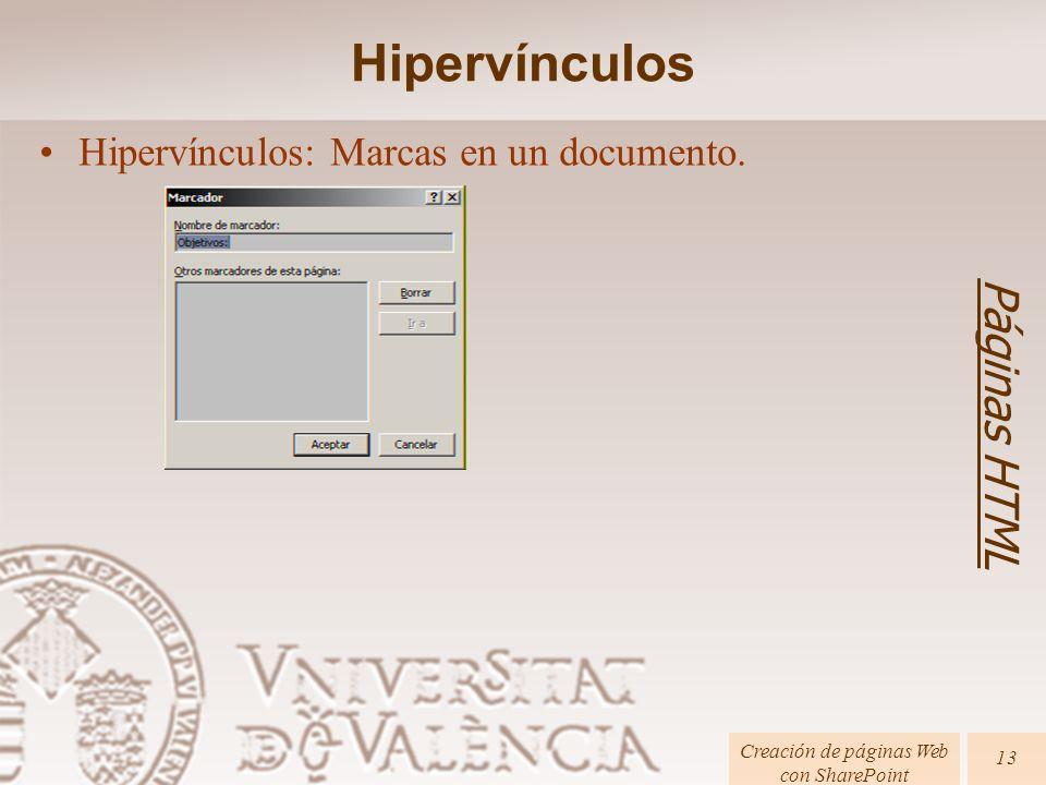 Páginas HTML Creación de páginas Web con SharePoint 13 Hipervínculos: Marcas en un documento. Hipervínculos