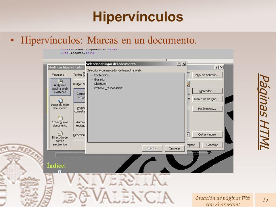 Páginas HTML Creación de páginas Web con SharePoint 15 Hipervínculos: Marcas en un documento. Hipervínculos