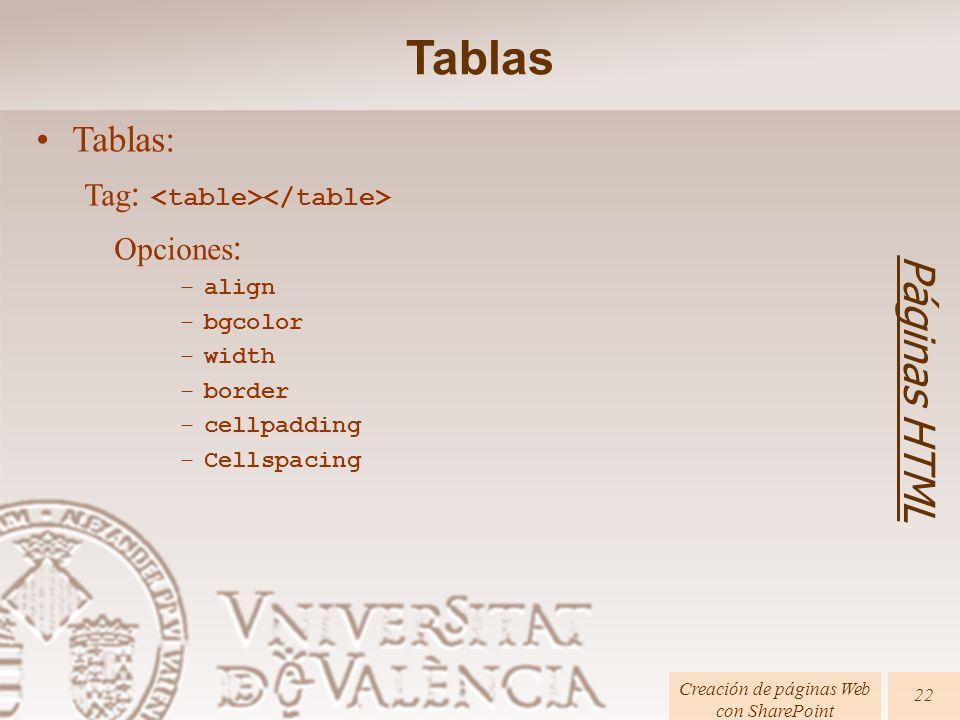 Páginas HTML Creación de páginas Web con SharePoint 22 Tablas: Tag : Opciones : –align –bgcolor –width –border –cellpadding –Cellspacing Tablas