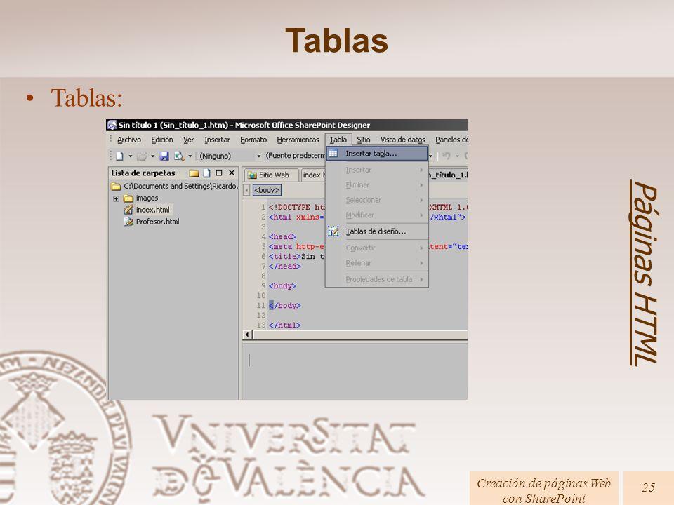 Páginas HTML Creación de páginas Web con SharePoint 25 Tablas: Tablas