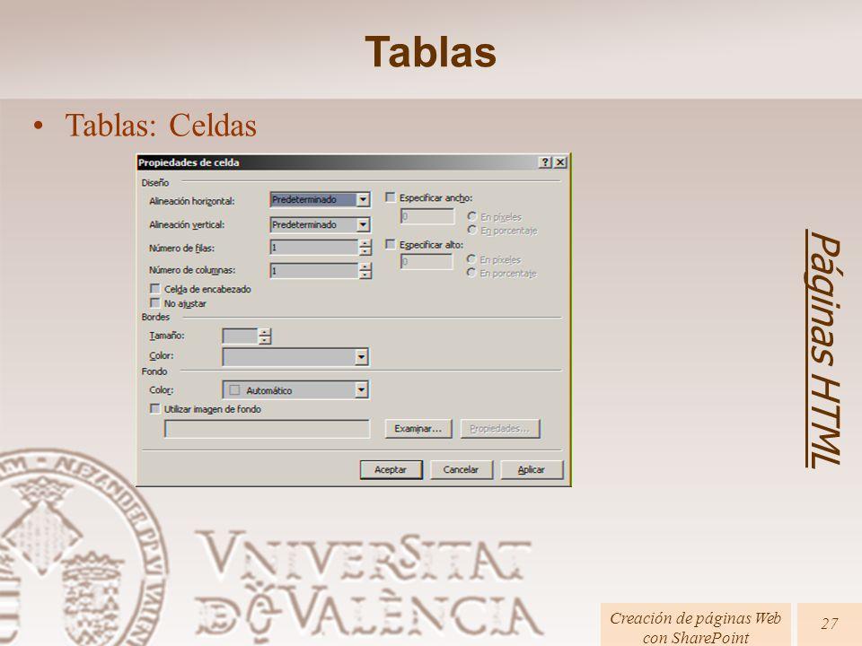 Páginas HTML Creación de páginas Web con SharePoint 27 Tablas: Celdas Tablas