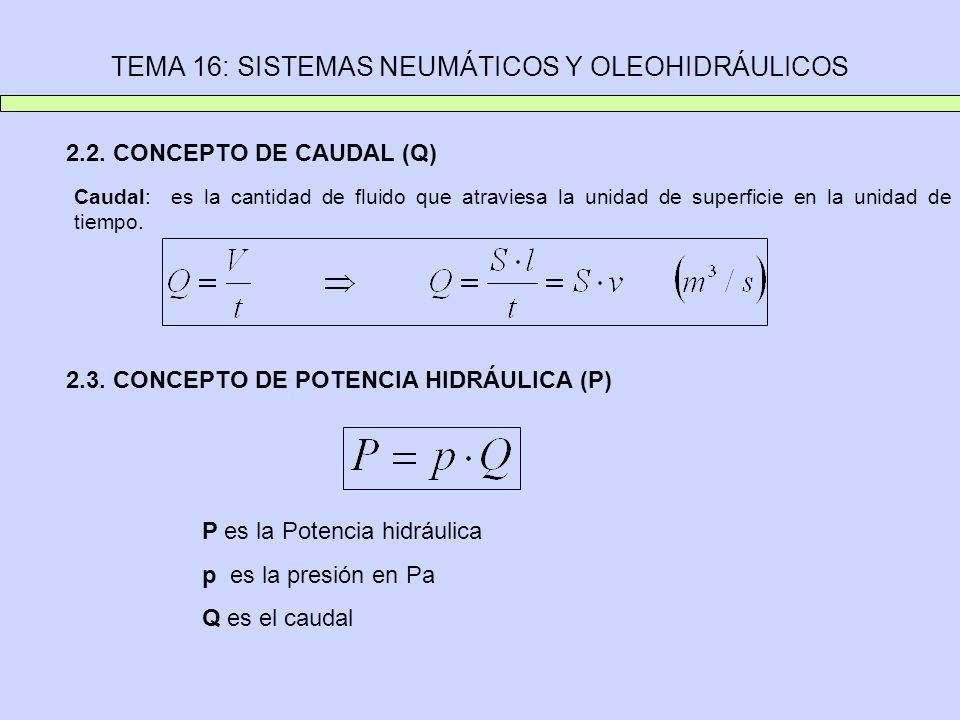 TEMA 16: SISTEMAS NEUMÁTICOS Y OLEOHIDRÁULICOS 2.2. CONCEPTO DE CAUDAL (Q) Caudal: es la cantidad de fluido que atraviesa la unidad de superficie en l