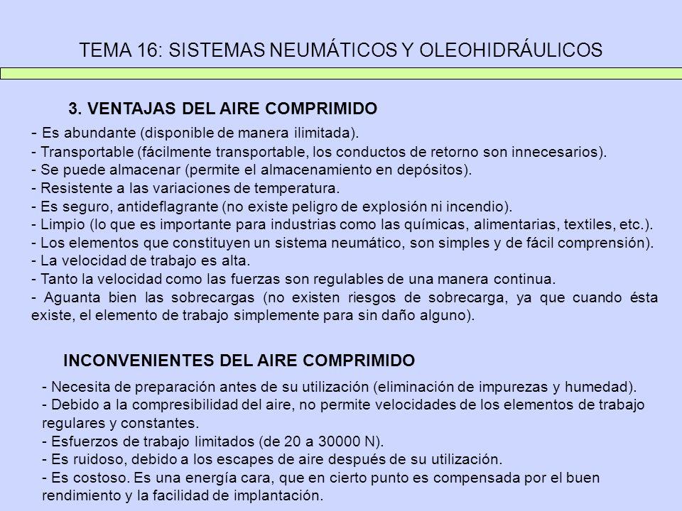 TEMA 16: SISTEMAS NEUMÁTICOS Y OLEOHIDRÁULICOS 3. VENTAJAS DEL AIRE COMPRIMIDO - Es abundante (disponible de manera ilimitada). - Transportable (fácil