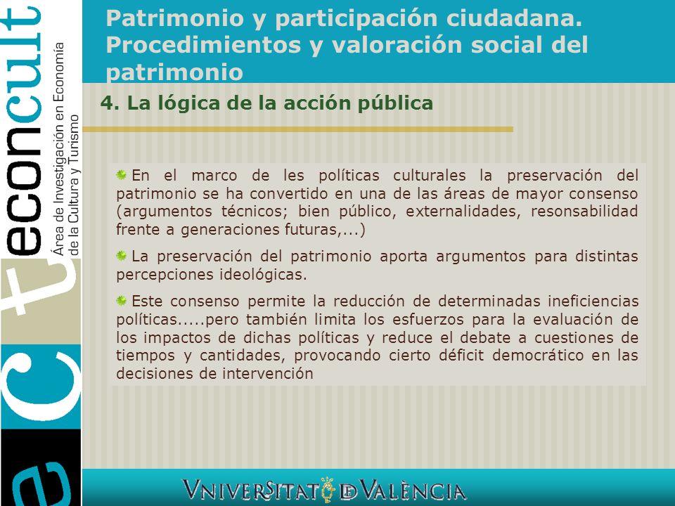 Patrimonio y participación ciudadana. Procedimientos y valoración social del patrimonio En el marco de les políticas culturales la preservación del pa