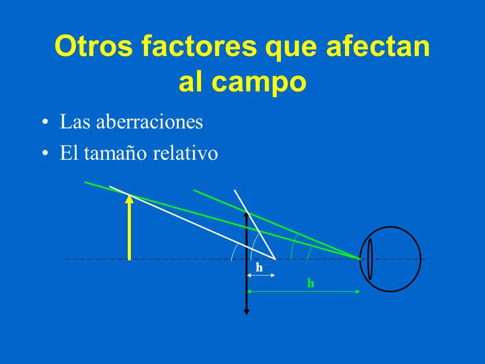 Otros factores que afectan al campo Las aberraciones El tamaño relativo h h